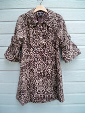 Neslay Paris tapestry wool blend double breasted bell sleeve coat SZ L NICE