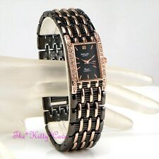 Omax Ladies Gunmetal & Rose Gold PL Seiko Movt Watch w Swarovski Crystals JH0458
