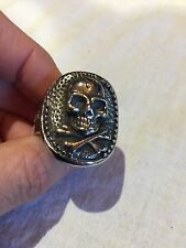 Vintage Large Silver Stainless Steel Scull Size 11 Men's Motorcycle Ring
