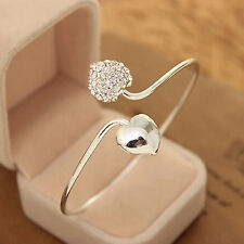 1pc Silver Women Elegant Double Heart Crystal Rhinestone Open Bangle Bracelet