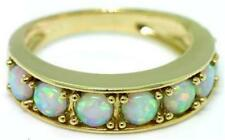 Natural Solid Aussie Opal 9K 9ct 375 Solid Gold Eternity Ring