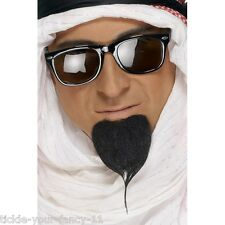 Men's Arab Sheik Facial Hair Beard & Black Glasses Fancy Dress Egyptian Fun