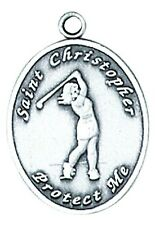 Medal St. Christopher Golf Women Sport Sterling Silver 3/4 inch Pendant Boxed