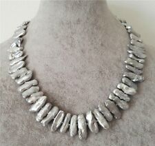 Fashion Jewelry Natural Silver Gray Biwa Freshwater Pearl Necklace 17'' AAA