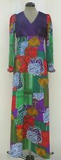 Women's vintage 70's homemade multi print crimplene & purple velour maxi dress