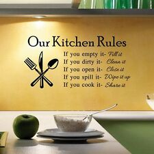 """Kitchen Rules"" Mural Decal Quote Removable Wall Sticker Room Kitchen Home Decor"