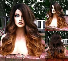 USA // Ombre Brown Blonde BABY HAIR Lace FRONT & Part Wavy HEAT OK Root Wig