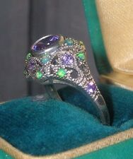 Beautiful Vintage Sterling Silver Victorian Ring ~ Jelly Opal Amethyst ~ 925