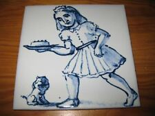 PORTUGAL PORTUGUESE PAULA REGO 1990s GIRL & CAKE CERAMIC TILE CARREAU FLIESE