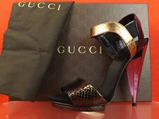 NIB GUCCI LIBERTY COLORBLOCK PYTHON MIRROR HEEL PLATFORM SANDALS 38 8 #347558