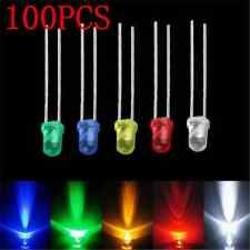 Lots 100pcs 3mm White Green Red Blue Yellow LED Light Bulb Emitting Diode Lamps