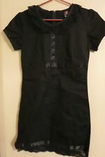 EMILY The Strange BLACK Mini Gothic Renaissance Dress Size Medium Cat Buttons