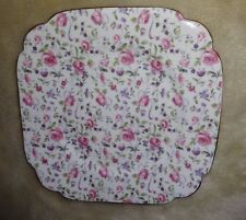 "Vintage Windsor Chintz Rose Dubarry Briar Confetti 8"" Square Plate Bone China"
