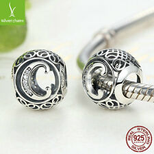 Christmas 925 Sterling Alphabet C Letter Charm Bead Fit Bracelet & Chain Jewelry
