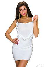 Sexy Minikleid Kettenträger Mini Kleid mit Wasserfall Weiß Gr. 34 36 38