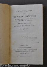 Letteratura Dionisio Longino Sublime Modo Parlare Scrivere Gori Milano 1801