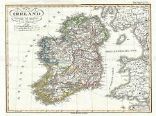 JUSTUS PERTHES MAP IRELAND FOUR DISTRICTS POSTER ART PRINT 2967PYLV