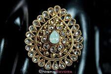 Indian Adjustable Ring Gold Swarovski Chrysolite Opal Greens