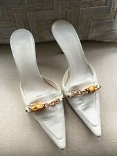 White Gucci Leather Sandals Kitten Heels Slippers Shoes Bamboo&Chain 7 US 4.5 UK