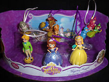 Disney Authentic Sofia the First Christmas Ornament 6pc Figure Princess Set Gift