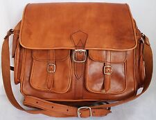 LARGE VINTAGE STYLE REAL GENUINE LEATHER SATCHEL BAG CAMERA BROWN TAN