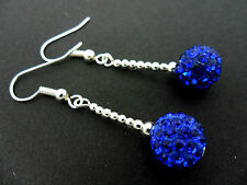 A PAIR OF PRETTY 10MM BLUE SHAMBALLA STYLE DANGLY EARRINGS. NEW.