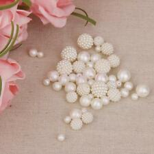 50Pcs Resin Pearls Round Beads for Jewelry DIY Findings Crafts Sewing Decor