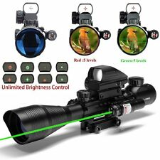 UUQ C4-12X50 Rifle Scope Dual Illuminated Reticle W/ GREEN Laser & Dot Sight