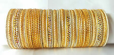 Indian Traditional Ethnic 48pcs Golden Color Bridal Bangle Set Jewelry 2.8.