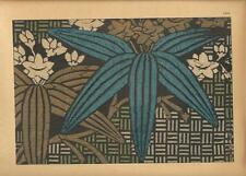 Stampa antica GIAPPONE JAPAN STYLE tessuto con foglie fiori  1885 Antique print