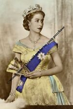 mm721 - young Queen Elizabeth in gown with fan by D Wilding  - Royalty photo 6x4