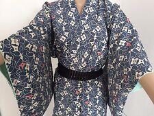 Authentic Vintage Fatto A Mano Kimono giapponese per le donne, in seta crepe, Blu (g328)