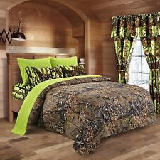 7PC KING NATURAL CAMO COMFORTER AND ORANGE SHEET SET CAMOUFLAGE BED IN BAG