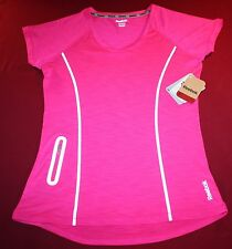 REEBOK WOMENS XS~EXTRA SMALL~SLIM ATHLETIC RUNNING TOP PINK SPORT SHIRT