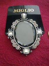 AMAZING MIGLIO GREY CRYSTAL ENHANCER EN504 NECKLACE ATTACHMENT PENDANT CAMEO