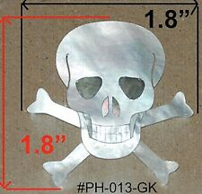PH13# Skull W Bones Headstock Inlay Abalone & White Mother of Pearl 1.5mm thick