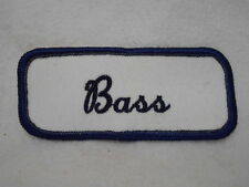 BASS USED EMBROIDERED  SEW ON NAME PATCH TAG DARK BLUE WITH BLACK ON WHITE