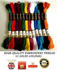 12 Solid Anchor Cotton Embroidery Thread most basic demanding fast colours