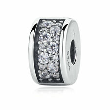 Authentic 925 Sterling Silver Clear CZ Charm Shining Elegance Clip Spacer