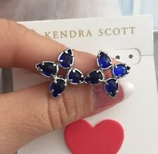 Kendra Scott earrings Stud Navy Blue Color 14k Gold Plated 100% Authentic!!! New