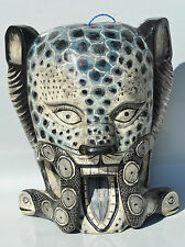 DAY OF THE DEAD HALLOWEEN  JAGUAR MASK= HAND CARVED WOOD = GUATEMALAN FOLK ART