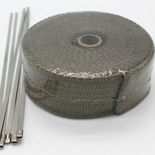 "TITANIUM TURBO MANIFOLD HEAT EXHAUST THERMAL WRAP TAPE & STAINLESS TIES 2""X50'"