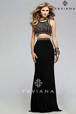 FAVIANA GLAMOUR TWO PIECE EMBELLISHED BLACK BRONZE MESH CORSET DRESS/GOWN sz 6