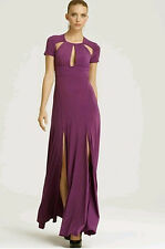 "$348 BCBG ORCHID ""LULU"" CUT-OUT SHORT SLEEVE JERSEY LONG GOWN DRESS NWT 0"