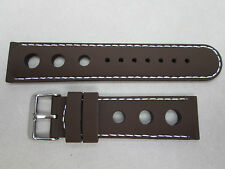 22mm silicone rubber racing watch band strap brown stitched in white