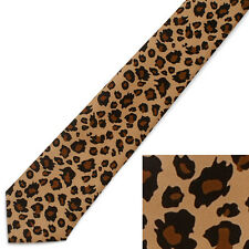NEW Unisex Leopard Print Spotted Tan and  Black Brown Tie NeckTie