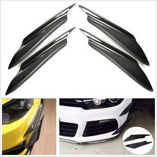 4 Pcs Black Real Carbon Fiber Front Bumper Splitter Fins Decoration Spoiler Chin