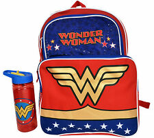 "Girls Wonder Woman 16"" Backpack & 19oz Water Bottle"