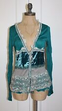 Anthropologie Sweater By Hazel Victorian Lace & Velvet Accent Crinkled Cardigan