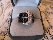 2.00ctw Black Spinel .75ctw White Zircon Sterling Silver Buckle Ring  Size 7